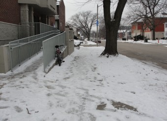 View Example of a Snow-covered Sidewalk