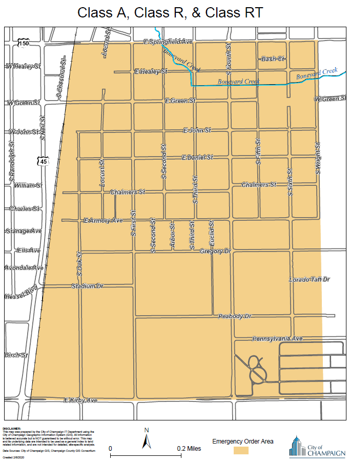 Map of defined area for Class A, R, RT Licensees